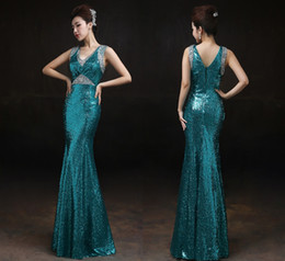 Shoulder Fish Tail Sequins Evening Dresses Bride V-Neck Prom Dresses Long  Slim Dance Party Dinner Prom Gowns DH1835 acfac44e17b5