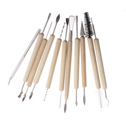 $enCountryForm.capitalKeyWord Australia - 11 Pcs Clay Sculpting Sculpt Smoothing Wax Carving Pottery Ceramic Tools Polymer Shapers Modeling Carved Tool Wood Handle Set