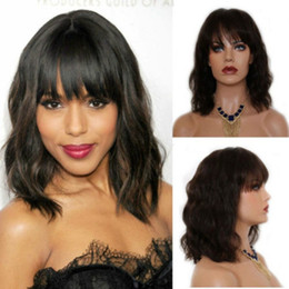 Womens Black Wigs Australia - 14inch Short wavy Bob Wig With Bangs Heat Resistant Synthetic water wave Natural African American Womens Wigs