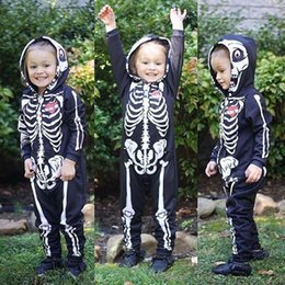 halloween costumes for kids babies NZ - Baby Halloween Costumes For Kids Skull Skeleton Baby Rompers Hooded Newborn Clothes For Boys Girls Jumpsuit Toddler Clothing Y200320