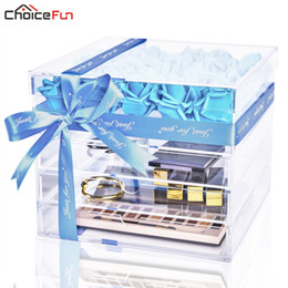 $enCountryForm.capitalKeyWord Australia - CHOICEFUN Mother's Day Luxury Large Transparent Clear Acrylic Makeup Fake Rose Box Square Big Lucite Gift Flower Box With Drawer