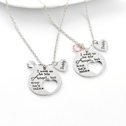 Dad Pendants Australia - Daddy Dad Necklaces Loss Memory I Used To Be His Angel Now Hes Mine Love Pendant Necklace Gifts for Dad or Daughter Family Necklace