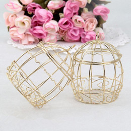 chinese navy knives Canada - Wedding Favor Box European creative Gold Matel Boxes romantic wrought iron birdcage wedding candy box tin box wholesale Wedding Favors