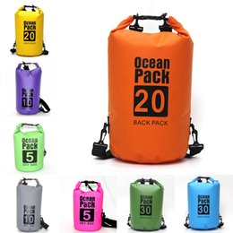 wholesale pvc footballs Canada - Fashion Dry Bag For Diving PVC Kayaking Swimming Boating Hiking Waterproof Dry Bag Outdoor Sports Backpack Waterproof Storage Sack M241Y