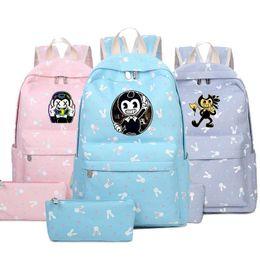 Cartoon Boys School Bag Backpack Australia - Cartoon Children Kids Game  Backpack Bendy Anime School Bagpack 49cade915eb8c