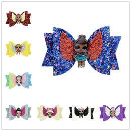 Character Hair Clips Australia - Cartoon Surprise Girls Hairpin Baby Sequin Glitter Bow Clips Girls Bowknot Barrette Kids Hair Boutique Bows Children Hair Accessories A4406