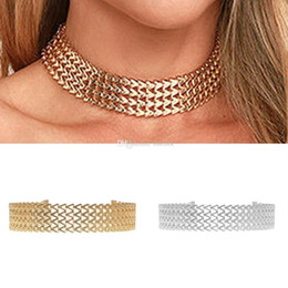 UniqUe chokers online shopping - 2Pcs Unique Design Women Silver Gold Plated Alloy Wave Chain Link Collar Choker Necklace Victorian Gift Fashion Jewelry