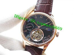 luxury brown leather watch Australia - V6 Luxury 43MM Swiss Tourbillon Manual Winding Moonphase Power Reserve Rose Gold Case Black Dial Brown Leather Strap Mens Watch