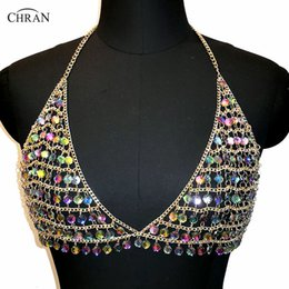 China wholesale Multi Color Gem Chain Bra Bralet Body Chain Women Crop Tops Summer Harness Halter Necklace Vest Nightclub Party Jewelry suppliers