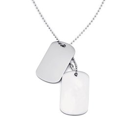 dog plates Canada - Simple High Polished Rectangle Stainless Steel Pendant Necklace Gold Plated Military Card Students Dog Tag Pendants Jewelry