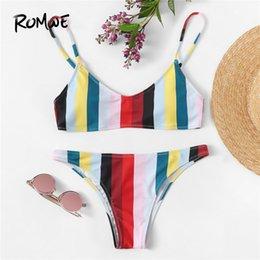 Swimsuit Strap Australia - Sport Striped Print Top With Low Rise Seam Detail Bottoms Bikinis Set Spaghetti Strap Women Summer Beach Vacation Swimsuit