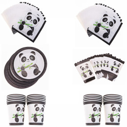 $enCountryForm.capitalKeyWord Australia - Cute Panda Party Supplies Disposable Tableware Set Cup Plate Napkins Happy Birthday Wedding for Baby Shower Cake Decoration