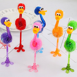 Stationery Australia - High quality Colorful Ostrich Ballpoint Pen Cute Stationery Kawaii Pen Kawaii Gifts for Children Students School