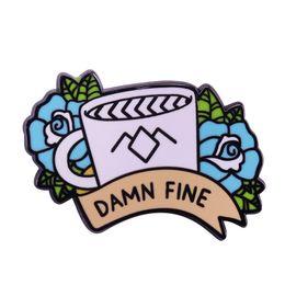 Twins arT online shopping - Damn fine coffee hard enamel pin Twin Peaks Agent Cooper inspired badge blue rose brooch fans art collection