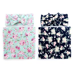 Wholesale 2 set Newborn Baby Girl Swaddle Blanket Headband Set Newborn Kids Big Bow Floral Printing Cute Wrap Blanket