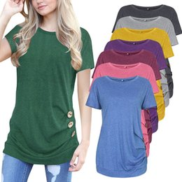 women t shirts buttons neck Australia - New Women Summer Short Sleeve T Shirts Solid O-Neck Casual T-shirt Cotton Tee Button Decorated Female Top