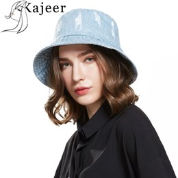 928a9fdf Kajeer Summer Washed Denim Sun Hat Women Floppy Cap Ladies Beach Bucket Hats  Cotton foldable Fishing Fisherman Hats Travel Flat