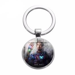 $enCountryForm.capitalKeyWord UK - Man Tony Stark Keychain Infinity War Movie Superhero Arc Reactor Key Ring Avengers Series Fashion Glass Key Holder