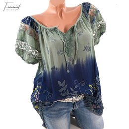 new fashion women blouses casual lace UK - Plus 5Xl Size 2019 Summer New Women Short Sleeve V Neck Lace Floral Print Blouses Shirts Fashion Casual Plaid Tops Shirts Blusas