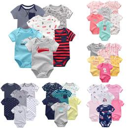 $enCountryForm.capitalKeyWord Australia - 6 Pcs lot Newborn Unisex Summer Baby Rompers Baby Boy Girl Clothes Roupas De Bebe Cotton Soft Baby Junmsuits Y19061201