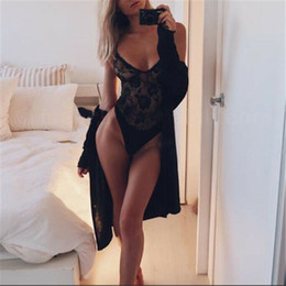 rompers catsuit jumpsuits NZ - Black bow lace bodysuit women backless transparent sexy body jumpsuit rompers 2019 catsuit bodysuits slim overalls