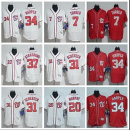 42923986315 Washington 34 Bryce Harper 7 Trea Turner Nationals Majestic Road Gray Flex Base  Authentic Collection Jersey