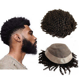 afro kinky human hair straight wig 2019 - Mono Lace Men Toupee Human Hair Afro Kinky Curly Wave Hairpieces Mono With Npu Around Natural Hair Men Wig Free Style Re