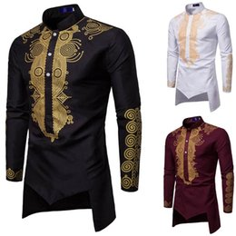 standing collar shirt style Australia - Men's Luxury Ethnic Printed Shirts African Style Long Sleeve Dashiki Shirt Stand Collar Casual Slim Fit Top Blouses YL5