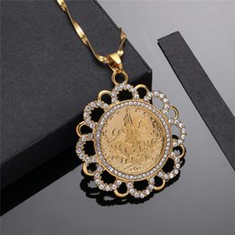 ancient gold coins UK - Rabian Ancient Coin Pendant Muslim Crystal Necklaces Women Men,Two Tone Gold Color Jewelry Middle East African Gift