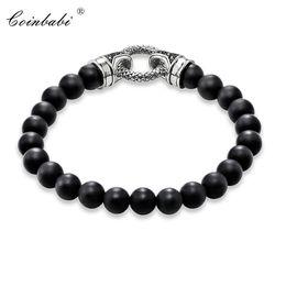 $enCountryForm.capitalKeyWord Australia - Black Onyx & Silver With Clasp Length 16-25cm For Men And Women Trendy Gift Style Rebel Bracelet Fir Ts Heart Charm