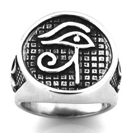 $enCountryForm.capitalKeyWord UK - STAINLESS STEEL punk vintage mens or womens JEWELRY Egyptian Pharaoh Eyes Jewish Cross Ring GIFT FOR BROTHERS SISTERS FSR20W42