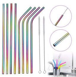 Venta al por mayor de 4x Color de arco iris Burbuja Té Pajas de acero inoxidable Paja de beber Reutilizable Leche Té Metal Paja con cepillo