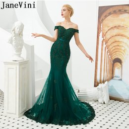 lace dinner dress Australia - JaneVini Long Mermaid Party Lace Evening Dresses 2019 Sukienka Dark Green Beaded Sequin Formal Dinner Gown Sexy Off Shoulder Prom Dress