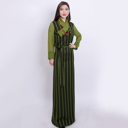 840edf82e Oriental Clothing UK - Oriental Nepal Tibet Gown Robe striped slim gauze  sleeves traditional Clothing comfortable
