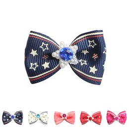China 100PCS Mix Color Handmade Dog Bow Pentagram Pattern Ribbon Bow 6029013 Pet head flower Accessories Wholesale suppliers