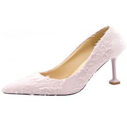 $enCountryForm.capitalKeyWord Australia - Dress Shoes Teenage Little Fresh High Heel Girl 2019 Spring Personality Lace Sharp Head Shallow Slipper Women's Single Shoe