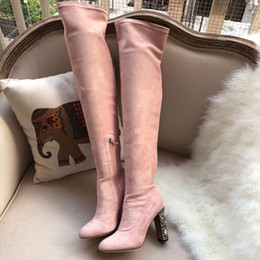 $enCountryForm.capitalKeyWord Australia - Branded Women Leather Trim Knot Over The Knee Boots Designer20 High elastic cloth with Genuine Leather Thigh-High Boots