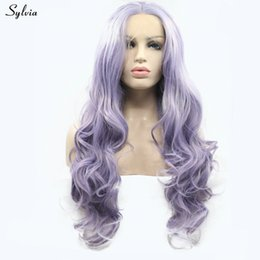Long Hair Wave Style Australia - Purple Wig New Lace Frontal Wigs For Girls Women Party Style Body Wave Long Synthetic Hair Light Purple lilac Cosplay Wig