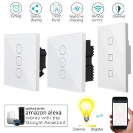 Remote Control Power Switch Wall Australia - UK Plug Wireless Smart Light Dimmer In Wall Power Switch Touchs Remote Control WiFi Light Switch Work with Alexa Google Home