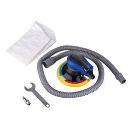pneumatic hoses UK - Air Random Orbital Palm Sander for 6inch 150mm Pad Pneumatic Tool w  Dust Collection Hose Polished Air Palm Sander Sanding Tool