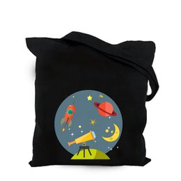 $enCountryForm.capitalKeyWord Australia - 2019 cute space alien black cotton canvas bag customized kawaii girl tote bag custom shopping bags with logo for men or women