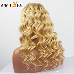 24 inch wigs Australia - Blonde Color Loose Wave Lace Front Human Hair Wigs Malaysian Indian Peruvian 8-24 Inch Lace Front Wigs Pre-plucked With Baby Hair OKLove