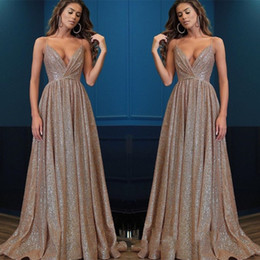 $enCountryForm.capitalKeyWord NZ - Sparkly Sequined A Line Prom Dresses Gold Deep V Neck Backless Evening Gowns Cheap Custom Special Occasion Gowns robes de soirée Guest Dress