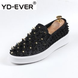 7e66580f72 Black Creepers Shoes Men Australia - New Sneakers Creepers Elevator Men  Rivet Spike Platform Red Dandelion