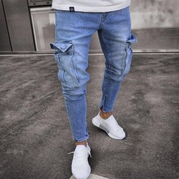 trend jeans Canada - Men's Skinny Jeans Men's Jeans Trend Knee Hole Hole Zipper Feet Trousers Slim Elastic Washed Spring Thin Section