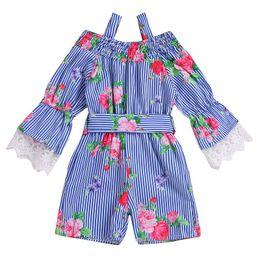 Girls Zebra Print UK - Vieeoease Girls Jumpsuits Floral Kids Clothing 2019 Spring Summer Long Sleeve Lace Print Stripe Jumpsuits CC-370
