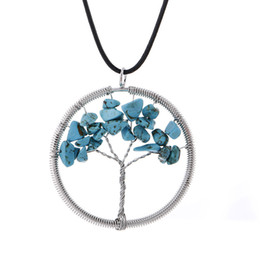 $enCountryForm.capitalKeyWord Australia - Mixed Design Tree of Life Pendant Necklace Colorful Life Tree Root Chain Necklace Round Women Natural Turquoise Gravel Stone Crystal Jewelry