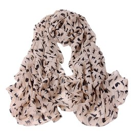 Girls Fashion Scarves UK - NEW Long Soft Wrap Scarf 2019 Chiffon Shawl Scarf Ladies Autumn Fashion Women Cat Print Long 150*60 #YL10