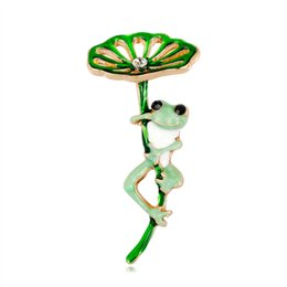 frog brooches Australia - New personality cartoon brooch fashion Joker Lotus Frog brooch upscale ladies brooch