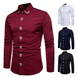 leisure shirt free shipping NZ - Hot sale fashion New shirt men leisure placket embroidered court style men shirt long sleeve shirt 4 color 2XL size free shipping